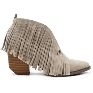 COMING SOON! Gray Fringe Cutout Ankle Booties